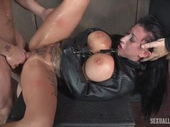 Sexy leather straitjacket on a slave slut videos