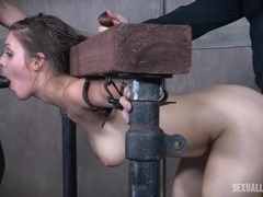 Slave girl spit roasted by strapon and his cock videos