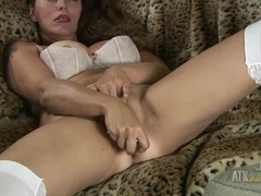 Glass dildo dives into her wet mommy pussy tubes
