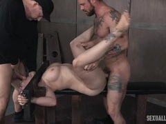 Slave in the stockade fucked by two guys videos