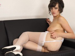 British gal looks hot in her white stockings videos