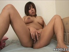 Finger gets wet in her hot japanese pussy videos