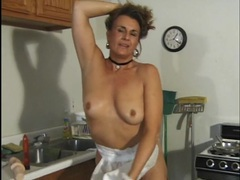 Horny old lady fucking dildos in her kitchen movies at adipics.com