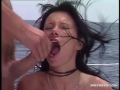 Gorgeous girl on a boat does a double penetration movies