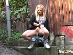Sweet blonde takes off her jeans and pees movies at lingerie-mania.com