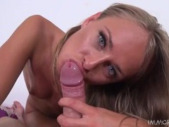 Beauty gives an artful blowjob and climbs on top videos