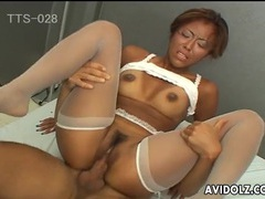 Hot tanned asian babe fucked in white stockings tubes at chinese.sgirls.net