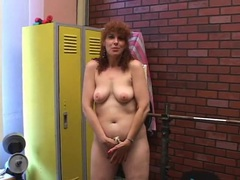 Dildo licking mom plays solo in the locker room movies at kilosex.com