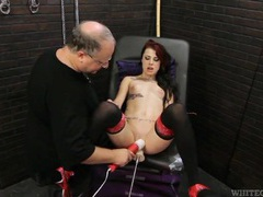 Skinny tattooed girl makes love to a toy machine videos