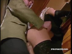 Elegant beauty in black gloves sucks dick at a party movies at kilovideos.com