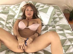 Big boobs asian milf babe masturbates in bed tubes at sgirls.net