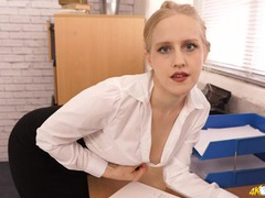 Blonde secretary opens her blouse to tease her titties videos