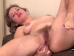 Big bush and super hairy legs on a masturbating mom videos
