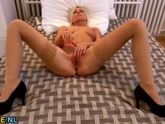 Flawless blonde milf beauty masturbates sensually videos