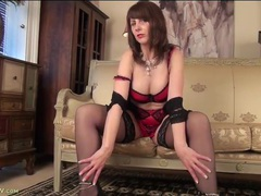 Classy older woman is stunning in a lingerie set videos