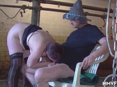 Cow farmer fucks this slut in the barn videos