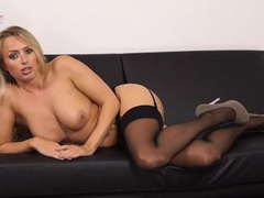 British blonde beauty takes off her satin bra to tease her tits videos