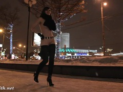 Jeny smith naked in snow fall walking through the city movies at reflexxx.net