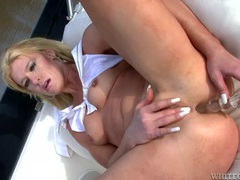Solo slut on a boat fucks a toy into her asshole tubes