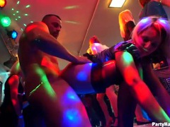Hard cocks pound pussies in a wild club scene videos