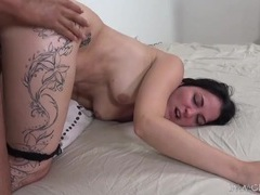 Sexy thigh tattoo on a dirty girl taking a doggystyle fuck videos