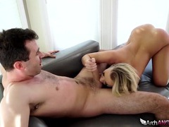 Beauty in knee highs enjoys his big cock tubes