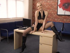 Boots and lingerie are so hot on an english blonde movies