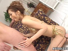 Shiny gold bikini on a beautiful cocksucking asian girl tubes at asian.sgirls.net