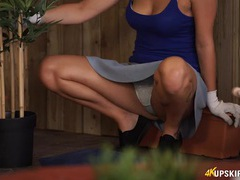 Sexy girl gardening and flashing her panties movies at freekilomovies.com