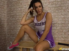 Hot cheerleader looks stunning in her uniform movies at lingerie-mania.com