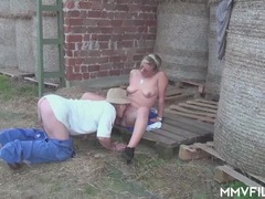 Old farmer blown by a pretty blonde girl at work tubes