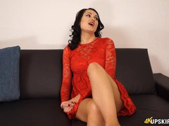 Pretty red lace dress makes her panty flashing extra fun videos