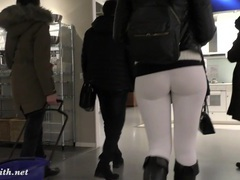 Jeny smith  camel toe white leggings tubes