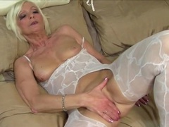 Mom in a body stocking has a gorgeous shaved pussy videos