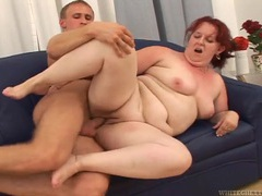 Pale skin old lady laid from behind by a young guy videos