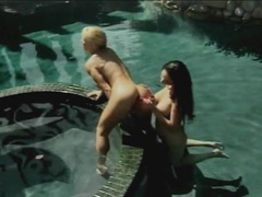 Vintage lesbian beauties fucking in the pool clip