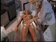 Sensual lesbian play with a big glass dildo videos