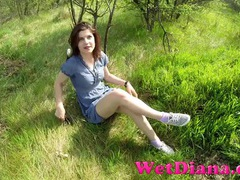 Chick in a pretty dress flashing panties in the grass videos