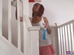 Super tanned babe cleaning house in a miniskirt movies at sgirls.net