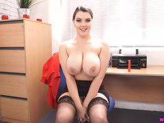 Busty british secretary shows off her big natural tits videos