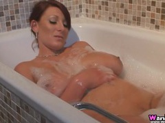 Buxom british girl takes a sexy bubble bath tubes