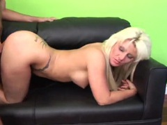 Curvy bleach blonde whore rides his erection clip