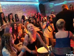 Ladies in naughty club clothes dance with male strippers videos