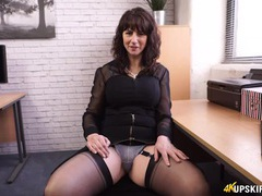 Scandalously short skirt on your hot milf secretary movies at kilosex.com