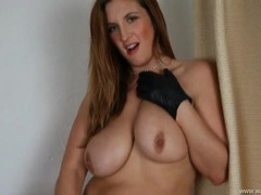 Demanding babe in leather gloves gives hot joi videos
