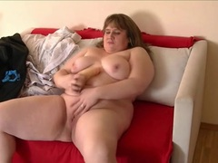 Stripping bbw babe fucks a dildo delightfully videos