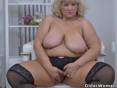 Bbw milf renatte rubs her big tits and hungry pussy videos