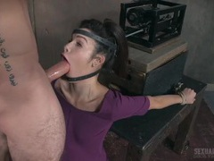 Machine forces her mouth down on a big cock tubes