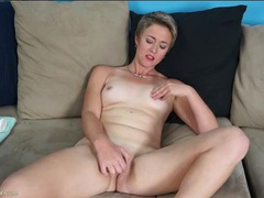 Vibrator makes mommy moans as she plays videos