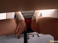 Stare up her secretary skirt at her sexy red panties videos